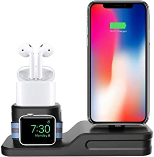Charging Stand for Apple Watch and iPhone, Freal Apple Watch Accessories Silicone 3 in 1 Charging Station for Apple Watch ...