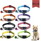 Seguridad de Nailon Collares de Gato, Collares de Gato de liberación rápida, Collar Reflectante Gatos Pequeño, Collares de Gatocon Campana, Gato Reflectante Collar