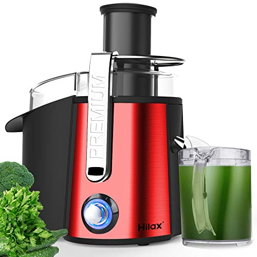 """Juicer Machines, Centrifugal Juicer Extractor, Electric Juicer Maker Fruit and Vegetable, Anti-slip juicers easy to clean, 3"""" Feed Chute, Stainless Steel, BPA Free(Red)"""