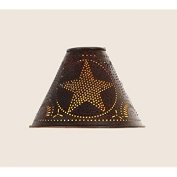 15-Inch Flared Lamp Shade with Rooster in Smokey Black Tin