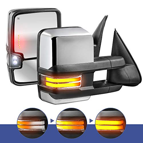 MOSTPLUS Power Heated Towing Mirrors for Chevy Silverado Suburban Tahoe GMC Serria Yukon 2003-2006 w/Sequential Turn light, Clearance Lamp, Running Light(Set of 2) (Chrome)