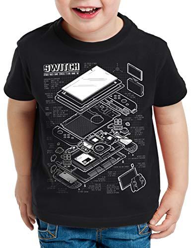 style3 Switch Blaupause T-Shirt für Kinder pro Gamer Konsole Joy-Con, Farbe:Schwarz, Größe:140