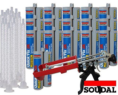 Soudal Kombiset 16x 2K-Schnellfest Zargenschaum á 210ml + 2K Pistole DM21-Metall