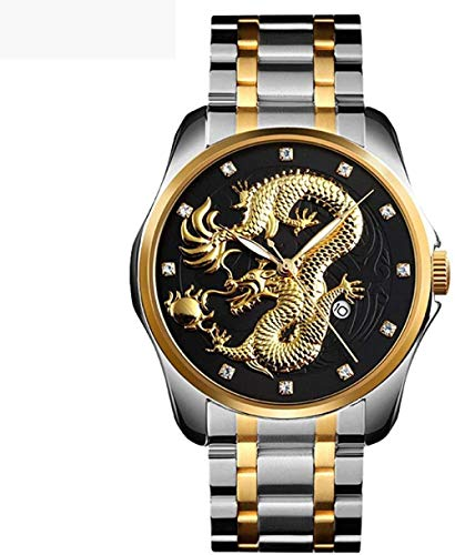 Estilo chino en relieve oro dragón reloj con manecillas luminosas de negocios casual maduro hombres s correa de acero reloj de cuarzo estilo-d