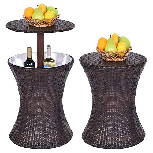 HDJSA Rattan Patio Pool Cooler Tisch Eiskübel Rattan Style Cool Bar Wasserdicht für Bartisch & Outdoor Kaffee-Getränkekühler 44.5 x 44.5 x 57-90cm