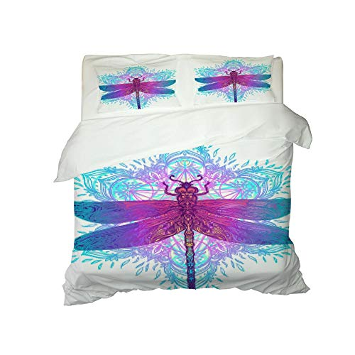PERFECTPOT Single Duvet Cover Set 3D Dragonfly Printed Bedding Duvet Cover Set in Polyester Quilt Bedding Sets with 2 Pillowcases for Adults Kids, 140x200