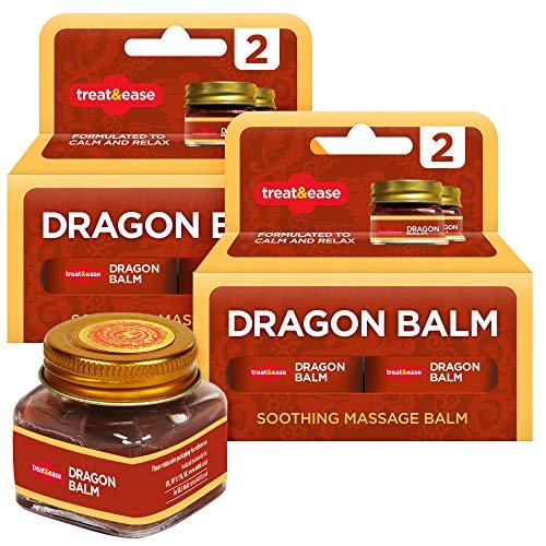 Treat & Ease Crema de masaje calmante de bálsamo de dragón para aliviar el dolor (que ayuda a aflojar y reduce los dolores musculares y articulares) Pack de 4