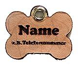 Anhänger Knochen fürs Halsband personalisiert ECHTES LEDER! Hundemarke ohne geklimper! f. Hundehalsband Katzenhalsband Kette DogTag