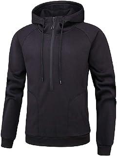 HEFASDM Mens Zip Fleece Pockets Solid Color Fashion Jacket coat with Hood