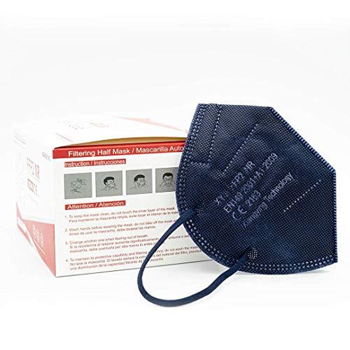 Xiangying x25 mascarillas FFP2 NR Homologadas y Certificadas - Azul Marino - Embolsado Individual para mayor comodidad - Protección polvo y partículas (caja 25 mascarillas) (Azul Marino)