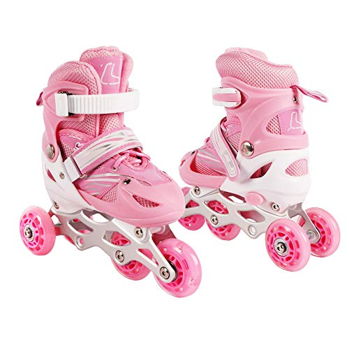 Best Goods Kinder Inline Skates Triskates/Rollschuhe Princess (Rosa, M)