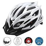 Lixada Casco da Bicicletta 25 Vents Ultraleggero Integralmente-modellato MTB Bici Regolabile Sicurezza Casco,Bianco