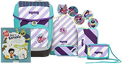 ergobag  Cubo  Stripes Edition Schulranzen Set mit Gratis Superbuch Bea BAHADIR üB lieger