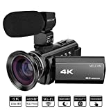 Video Camera 4K Camcorder Ultra HD 48.0MP 60FPS 3.0 inch 270 Degree Touch Screen, YouTube Vlogging Camera External Microphone and Wide Angle Lens, WiFi Function, Time-lapse, Night Vision