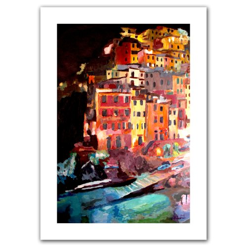 Art Wall 'Magic Cinque Terre Night Riomaggiore' Unwrapped Canvas Artwork by Markus Bleichner, 22 by 16-Inch