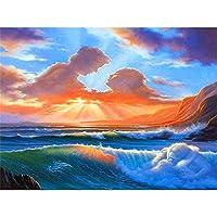 5Dダイヤモンド絵画、フルキットDIYラインストーン刺繡クロスアーツクラフトクリスタルラインストーンダイヤモンドホームウォールデコレーション-海の波-40x60cm