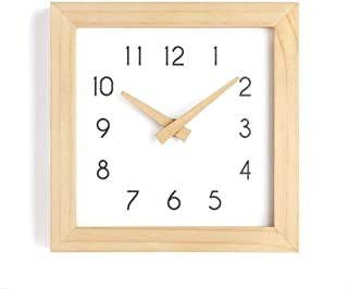 JUSTUP Wooden Wall Clock, 8 inch Non-Ticking Silent Wall Clock Battery Operated with Sweep Quartz Movement Square Decorative for Kitchen Bedroom Living Room Kids Room(8 inch)