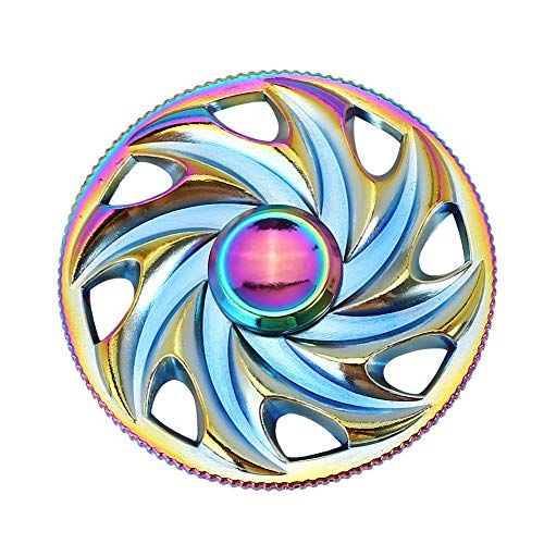 3-5 Mins Fidget Spinner EDC Hand Fidget Toy, Multicoloured Steering Wheel Rainbow Electroplating Alloy Stress Reducer High Speed Stainless Steel Bearing Finger Tri-Spinner Relief Toys for Focus
