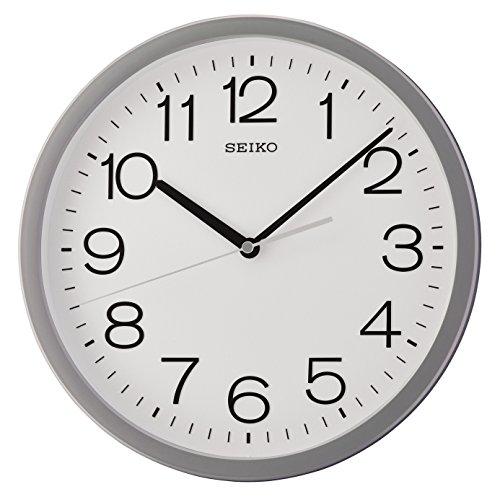 Seiko QXA693N-Orologio da Parete Rotondo, con Custodia Grigia, 32.3 x 32.3 x 5 cm
