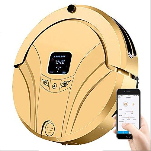 H&BB Robot Aspirateur,Laveur De Sols La Télécommande Et App avec Charge Automatique Et Capteur Intelligent Anti-Collision Anti-Chute,pour Sols Durs Et Tapis À Poils Ras,Poils d'animaux,Gold