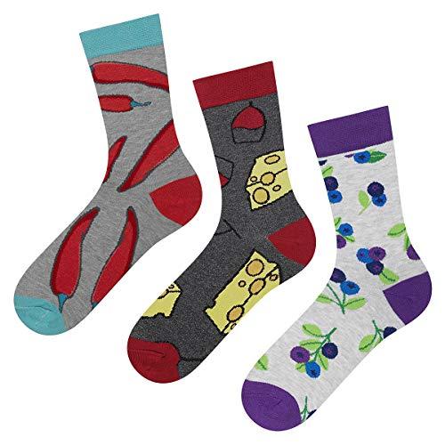 soxo Damen oder Mädchen Socken (3 Paar) | Lustige Verschiedene Motive | Lange Söckchen für Frauen | Grössen 35-40 (Set_1)