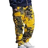 Yying Cargo Pants Hombres Mujeres Pantalones de Camuflaje Pantalones de chándal Sueltos Hip Hop Amarillo M