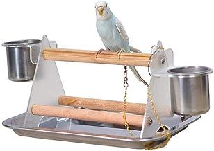 MMIAOO Papageien-Schreibtisch-Ständer aus Holz, Stativ und Edelstahl-Tablett, Futternapf, Vogelständer, Trainings-Ständer, Papageien, Spielplatz, Sitzstange, Vogel, bequemes Spielzeug