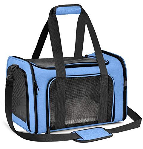 Qlf yuu Transporttasche für Katze Hund, Faltbare Tragebox für Mittel Kleine Haustiere im Flugzeug, Transportbox für Haustiere Mittel Kleine Hund Katze, 15lbs Katzen Hunde Tragebox(Blau, Medium)