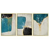 帆布の絵抽象的なキャンバス絵画青と黒のファッションポスター絵画リビングルームの寝室の装飾フレームレス絵画-50x70cm_D
