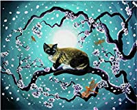 大人、子供、高齢者、初心者、デジタル絵画による木の上の猫、大人の手描きの油絵キャンバスプリントサイズによるDiyペイント