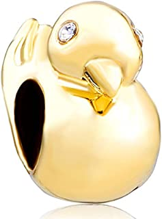 Yellow Duck Animal Charms Bead for Bracelets