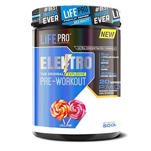 Life Pro Elektro Pre Workout para mejorar el rendimiento muscular – Suplemento deportivo pre entreno para mejorar la recuperación muscular – 500 gramos – sabor Lollipop
