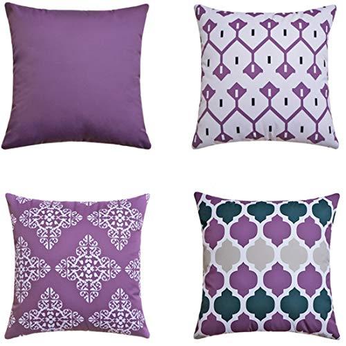 LIANNAO 4er Set Dekorativ Kissenbezug Geometrische Muster Dekorative Platz Dekokissen Fall Kissenbezüge für Couch Wohnzimmer Schlafsofa mit unsichtbaren Reißverschluss 20x20 Zoll 50x50 cm Lila