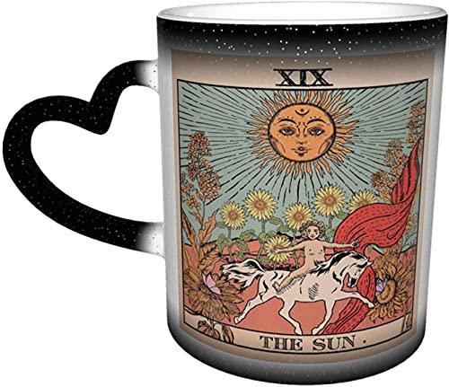 Tarot Sun Mysterious Medieval Europe Adivinación Magia Sensible al calor Taza que cambia de color en el cielo Arte divertido Tazas de café Regalos personalizados para amantes de la familia A
