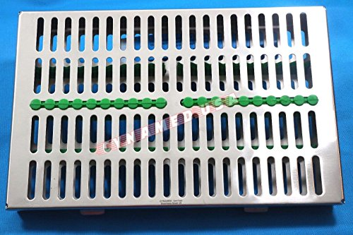 SYNAMED USA German Stainless Dental Autoclave Sterilization Cassette Box Tray for 20 Instruments Green