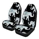 UNICEU Decorative Bohemian Blue Mandala Indian Elephant Black Car Seat Cover Front Saddle Blanket Universal Fit for Most SUV,Sedan,Van,Truck