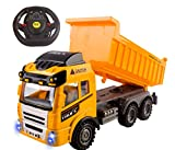 Vokodo RC Dump Truck Toy Construction Truck Remote Control Truck 4CH Full Function Battery Powered RC Construction Truck Toy