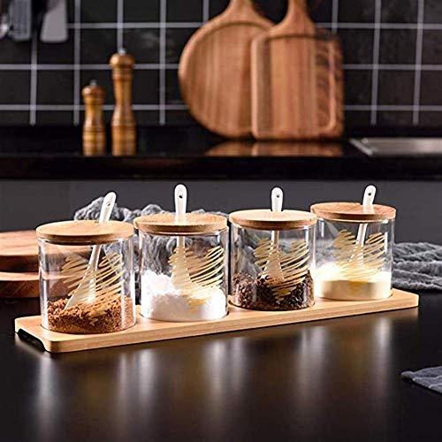 Kruiderij Clear Glass kruiden Box Set, keukenzout Msg Spice Jars Met Houten Deksels En Lepel Huishoudelijke Combinatie Spice Voorraadbus (Kleur: B, Grootte: 4 cellen) (Color : A, Size : 4 cells)