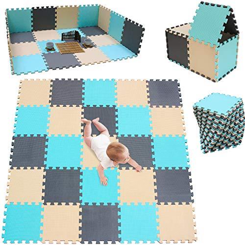 meiqicool Puzzlematte | Sanfte Baby-Bodenmatte | Kinderspielteppich Spielmatte Spielteppich Schaumstoffmatte Kinderteppich 142 x 142 cm Schutzmatte 25 Stück HJL