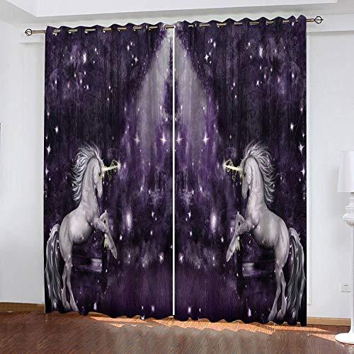 MPHWCL Cortinas termicas para el calor cortinas opacas 3D Animales caballo púrpura cielo estrellado Patrón Cortinas con ojales aislantes térmicos, muy suaves 200 x 160 cm para Habitación Niños Niñas S