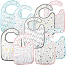Muslin Bibs 9 Pack, Soft & Breathable Cotton Bibs, 8 Absorbent Layers Baby Bibs for Eating, Drooling and Teething, Snap Closure?Ideal Baby Shower Gift for Boys & Girls 0 to 36 months, Machine Washable