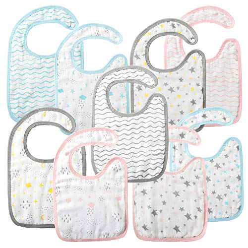 9 Pack Snap Cotton Bibs Muslin, 8 Layers Super Absorbent for Drooling Eating Teething , Size 13.5x8.5in