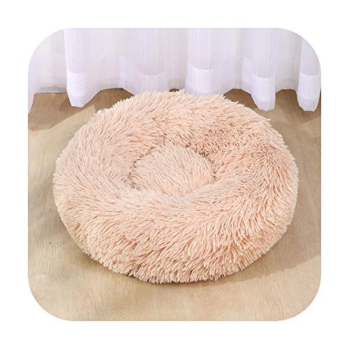 F-Pump Round Dog Bed House Soft Long Plush Pet Dog House Bed For Dogs Basket Pet Products Cushion Cat Pet Bed Mat House Animals Sofa-Champagne-60Cm