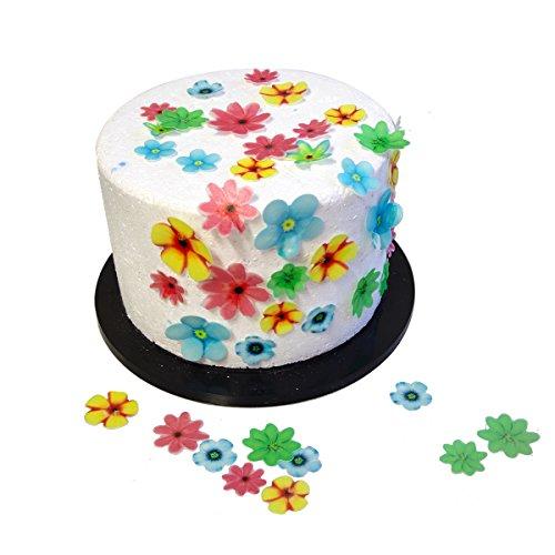 24 unidades de decoración para tartas de flores de masilla de oblea de papel para decoración de tartas y galletas