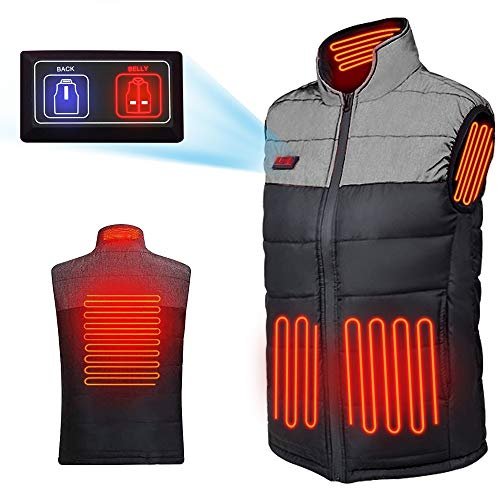 Wanfei Heated Vest for Men/Women, Lightweight Electric Waistcoat, Warm Jacket with USB Insert for Winter Skiing Hiking Travel Fishing Black L