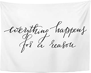 Tarolo Decor Wall Tapestry Alphabet Everything Happens for Reason Motivational Quote Text Cursive Drawn 60 x 50 Inches Wall Hanging Picnic for Bedroom Living Room Dorm