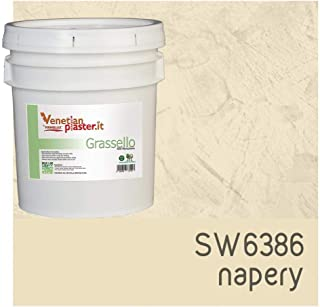 FirmoLux Grassello Authentic Venetian Plaster | Polished Plaster | Made in Italy from Lime, Marble & Other Natural Aggregates | Light Tan Colors (5) | Color: SW6386 Napery