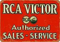 2個 8 x 12 CM メタル サイン - RCA ビクター セールス \u0026 サービス メタルプレート レトロ アメリカン ブリキ 看板
