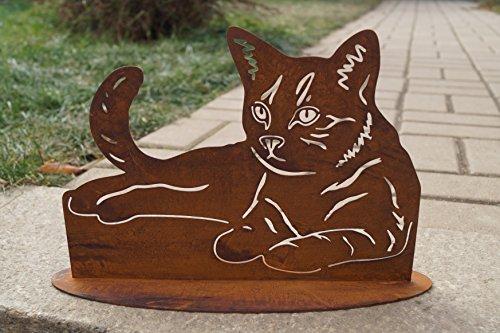 Rostalgie Edelrost Katze liegend auf Bodenplatte 31cm x 20cm Tierfigur Geschenk Garten Deko