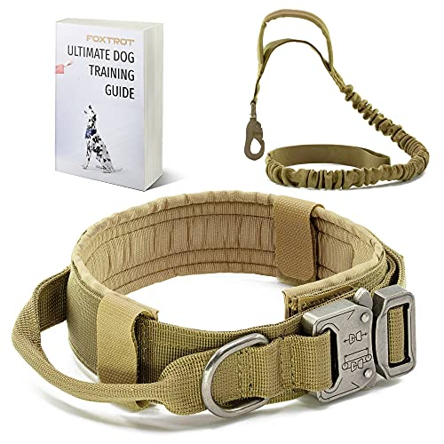 FOXTROT Tactical Dog Collar and Leash - Thick Military K9 Collar - Includes Matching Bungee Leash - Adjustable, Army Grade Nylon Khaki, Control Handle and Heavy Duty Metal Buckle for Medium Large Dog